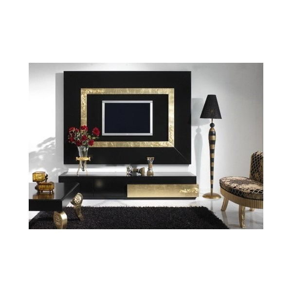 Luxus Black and Gold Leaf Rectangular Coffee Table