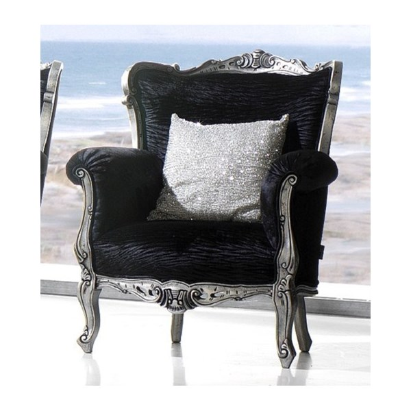 Magnus Upholstered Black and Silver Carved Grand Armchair