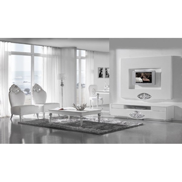 High gloss white TV frame with diamond mirror and silver leaf carving