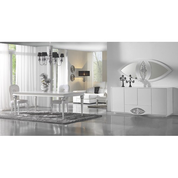 High gloss white sideboard with diamond mirror and silver leaf carving