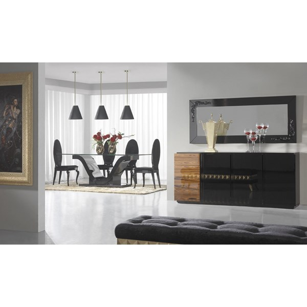 High gloss black dining table with glass top and 4 high back chairs