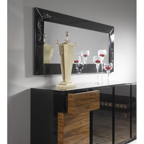 High gloss black sideboard with walnut drawers