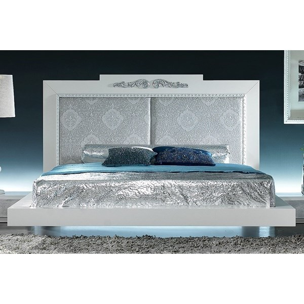 Luxus Carved White And Silver Leaf Floating Bed