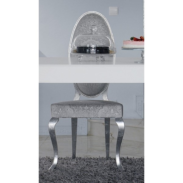 Luxus Carved White And Silver Leaf Dining Chair