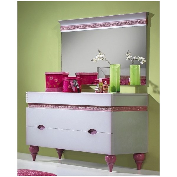 Luxus Carved Silver And Pink Children's Chest Of Drawers With Turned Pink Legs