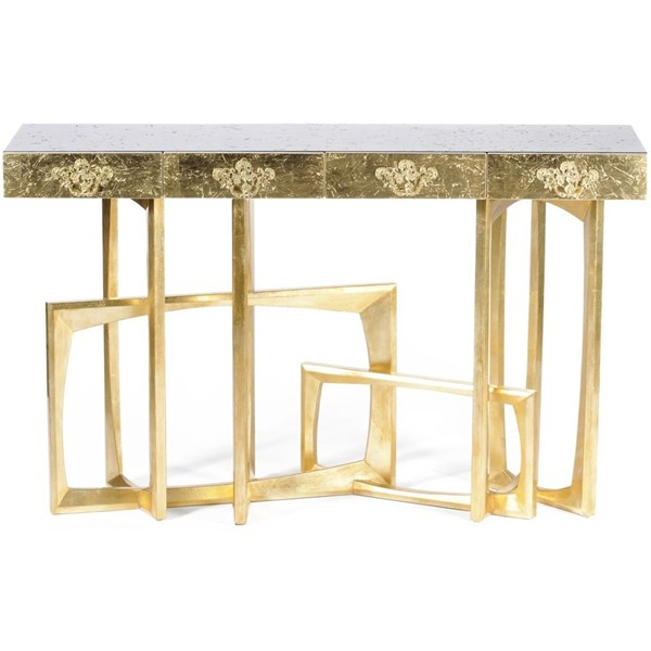 Luxury textured black and gold console table with 4 drawers