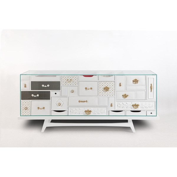 Luxury glass encased white and gold multi drawer sideboard