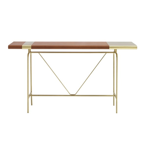 Touched D Brass & Leather Montana Console Table