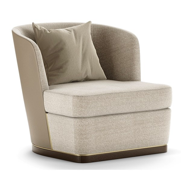 Nixi Armchair With Leather Upholstered Backrest