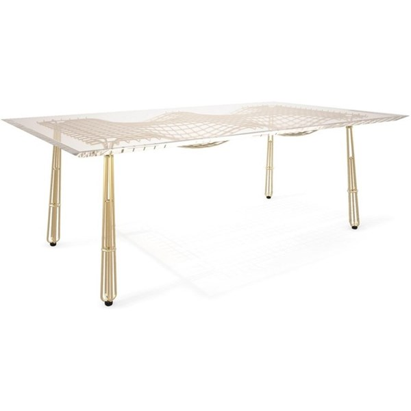 Nordic Outdoor Gold Plated Stainless Steel Mesh Dining Table With Acrylic Top