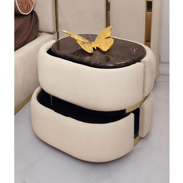 Notre Upholstered Marble Top Italian Bedside Table