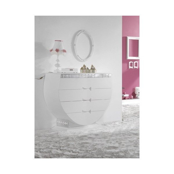 Luxury White And Silver Leaf Nursery Chest Of Drawers