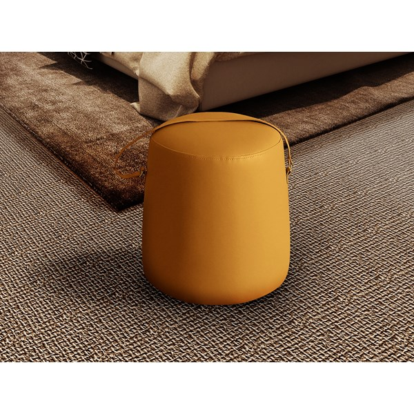 Ochre Leather Upholstered Trinity Stool
