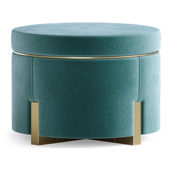 Ombra Stool with Brushed Brass Trim