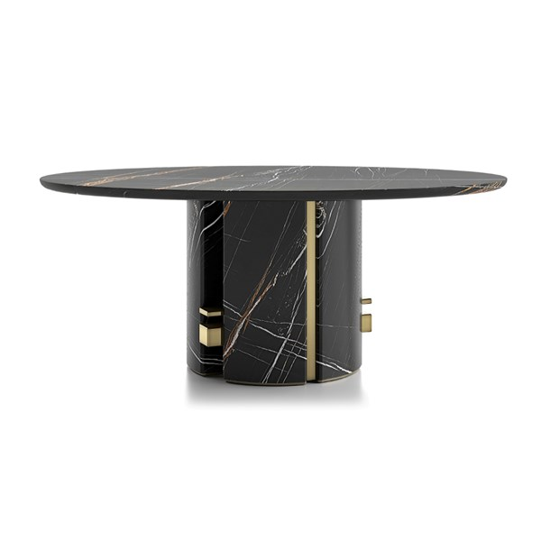 Round Marble Oriol Dining Table With Metal Detailing