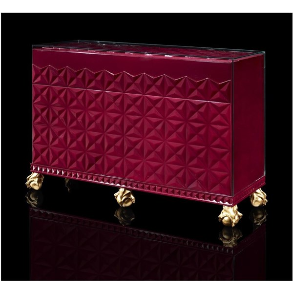 Ex-Display Deluxe red prism sideboard with intricate gold leaf feet