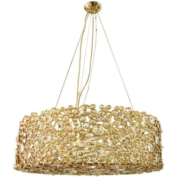 Paradise Circles Polished Brass Crystal Chandelier