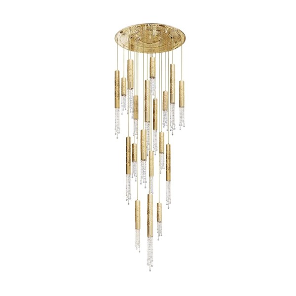 Penthouse Asfour Brass 24 Kt Gold Plated 19 Bulb Suspended Ceiling Light