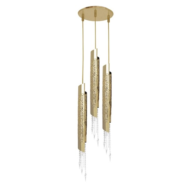 Penthouse Asfour Crystal Hammered Brass Suspension Light