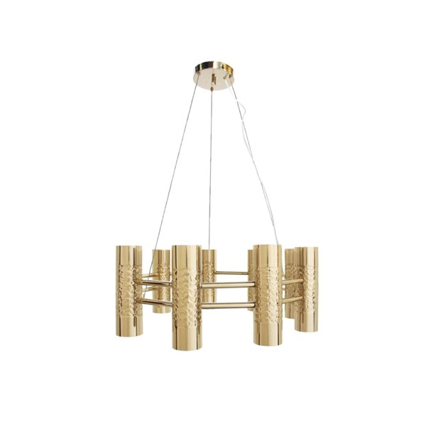 Penthouse Brass Textured 24 Kt Gold Plated Ceiling Lamp