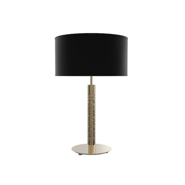 Penthouse Tall 24 Kt Gold Plated Table Lamp With Black Silk Shade