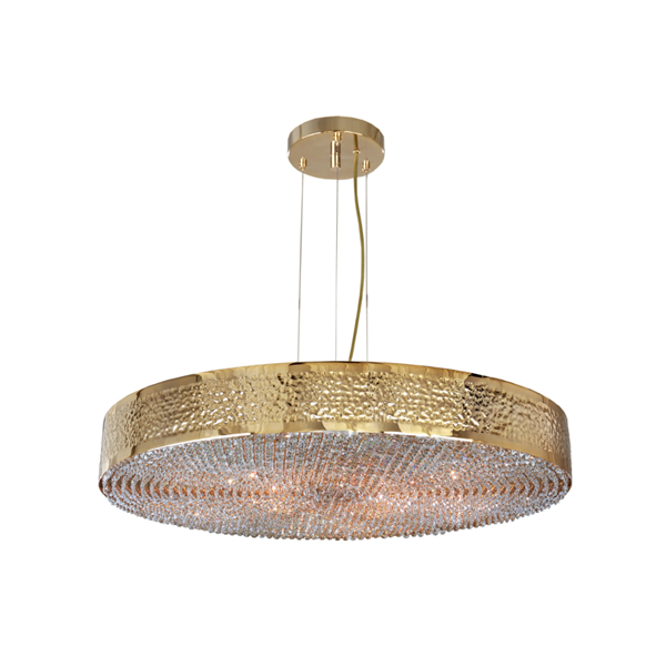 Penthouse Swarovski Crystal Gold Orbital Ceiling Chandelier