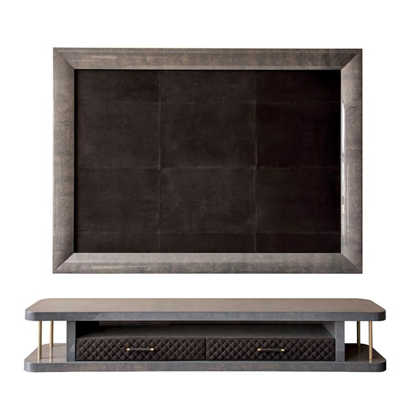 Upholstered Leather Perseus TV Frame & Cabinet With Quilted Drawers