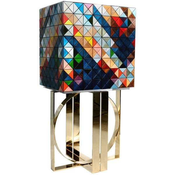 Luxury Multi Colour Triangle Pixel Cabinet With Drawers Inside