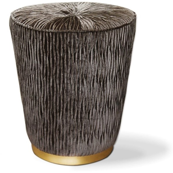 Plush Velvet Brass Base Stool