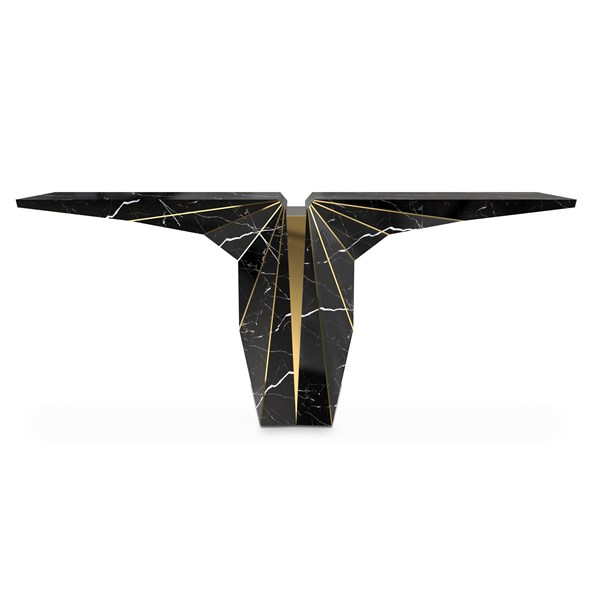 Polished brass & Nero marquina marble wing console table