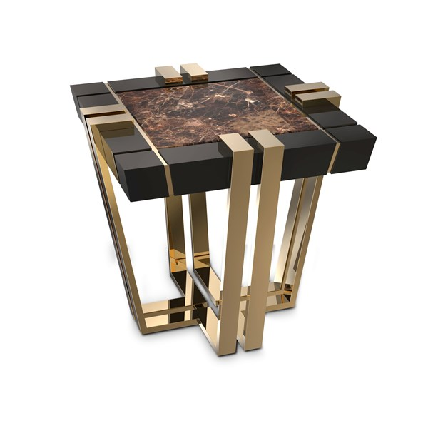 Polished brass, Black lacquer & Emperador Marble Side Table