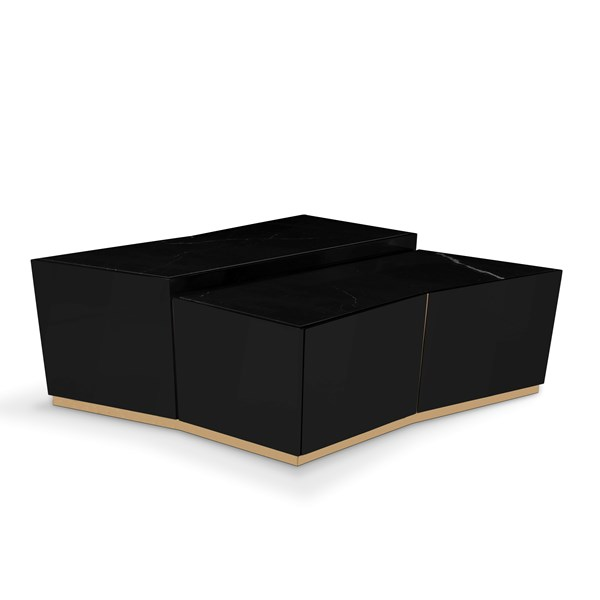 Polished brass, Black lacquer & Nero marquina marble coffee table
