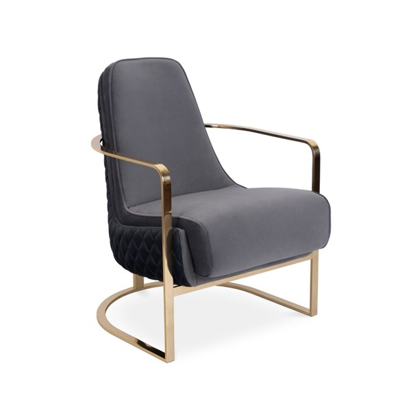 Polished Brass Luxury Grey Velvet Armchair