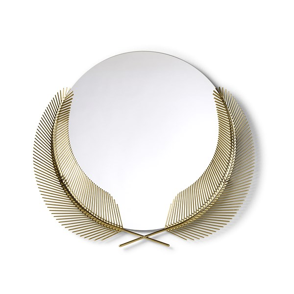 Polished Gold Casted Palm Leaf Round Mirror