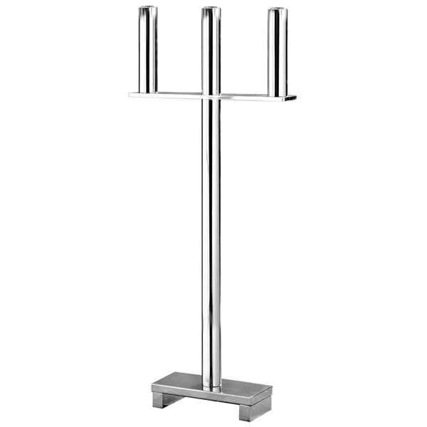 Polished Silver 3-Flame Standing Candle Holder