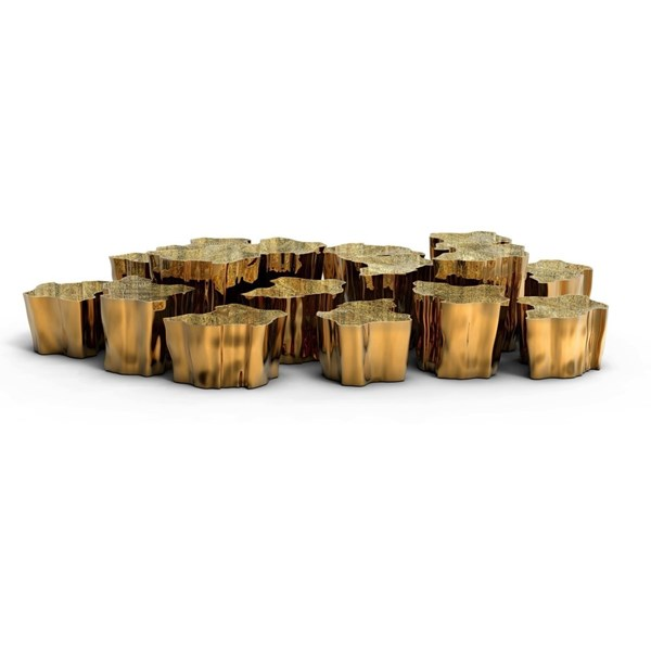 Polished Cast Brass Gold Plated Gold Coffee Tables Set Medium