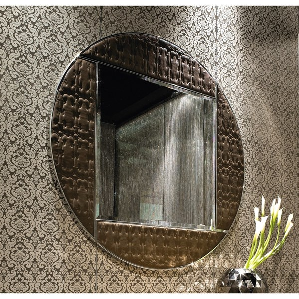 Polished Stainless Steel Upholstered Embroidered Round Italian Mirror