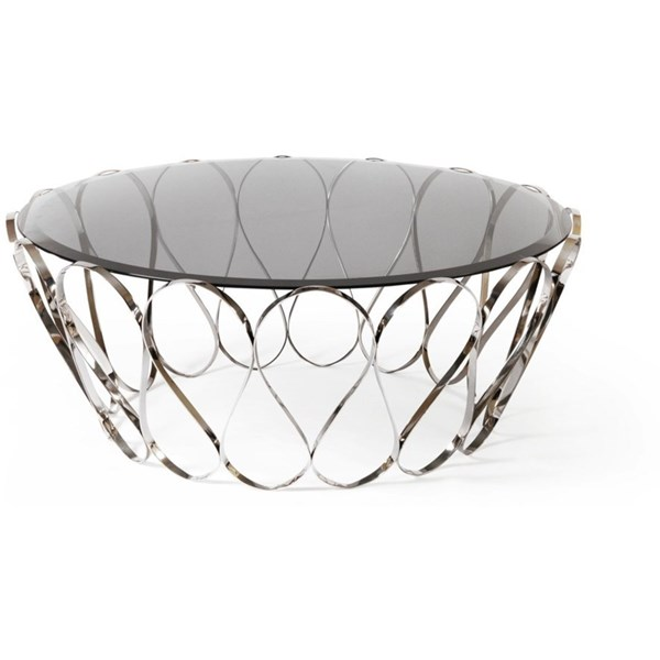 Polished Swirl Stainless Steel Smoked Glass Top Round Coffee Table
