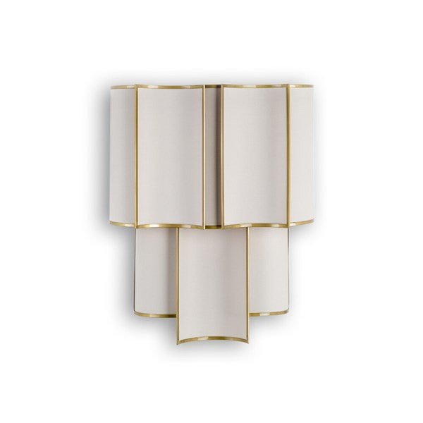 Ponte Satin Gold Wall Light with Linen Shades