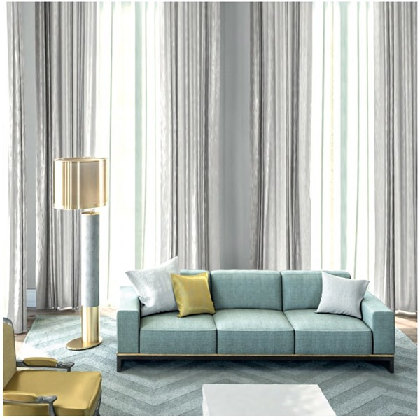 Portafino Upholstered Lacquered Stainless Steel Sofa Small