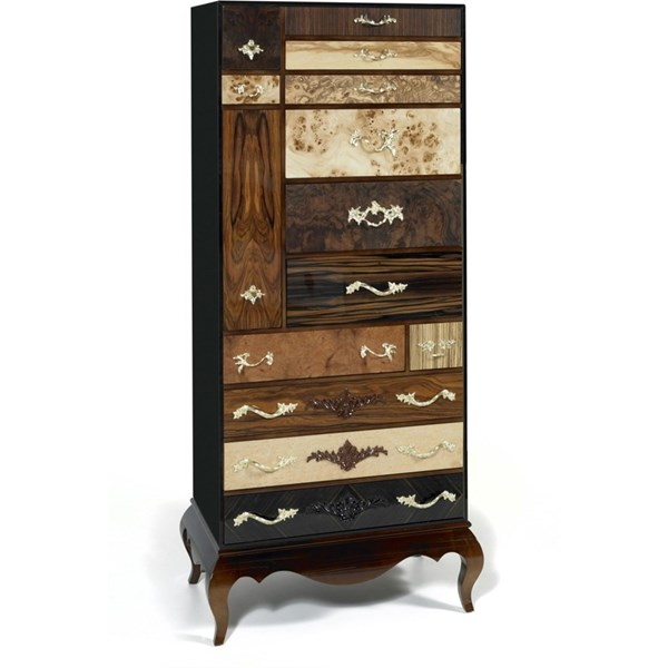 Luxury multi colour / wood tall boy chest