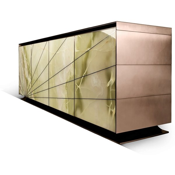 Redolence Italian Stainless Steel Lacquered & Marble Sideboard