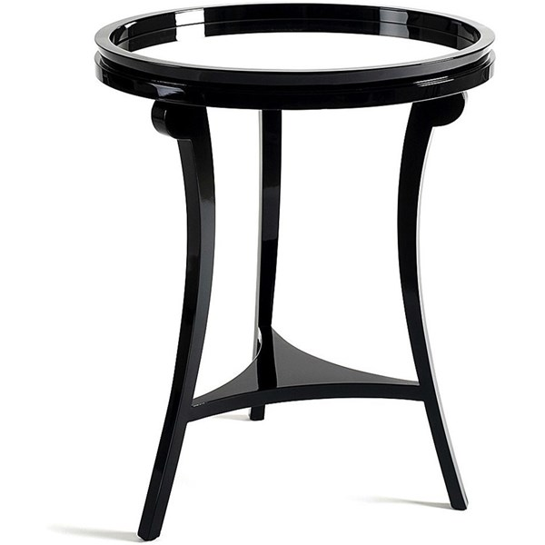 Round Mirrored Top Solid Wood Black Side Table