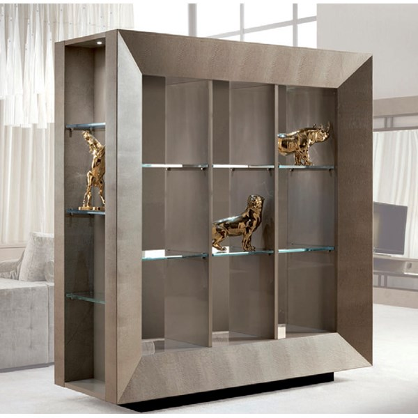 Leather Upholstered Rufino Display Cabinet