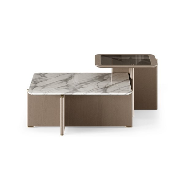 Shaw Smoked Glass & Carrara Marble Centre Table