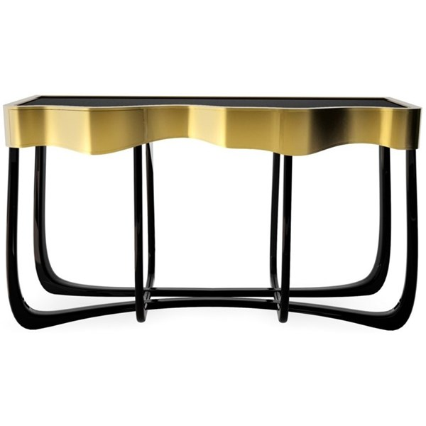 Luxury black and gold brass console table