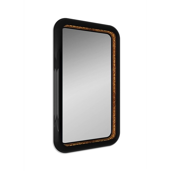 Solid Wood Carved High Gloss Black and Gold Gilded Rectangle Mirror