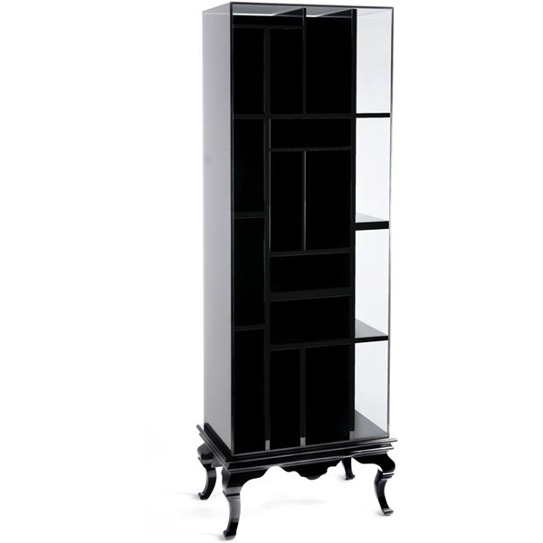 Solid Wood Glass Encased Black Bookcase