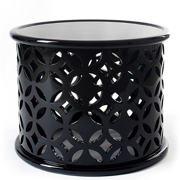 Solid Wood Open Cut Work High Gloss Side Table