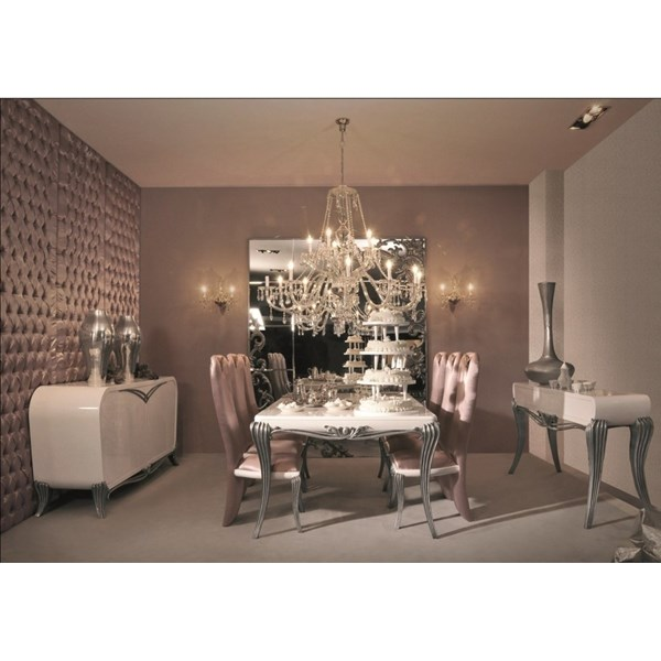 Spacium cream gloss and silver leaf dining table 200 x 120 cm